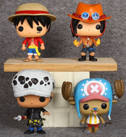 Wholesale one piece law toys online - 10CM PVC One Piece Action Figure Luffy Chopper Ace Law Car Furnishing Articles Model Big Head Doll Toys Holiday Gifts Ornament