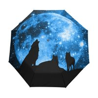 kinder automatischer regenschirm großhandel-Wölfe des Vollmonds Starry Sky Umbrella Three Folding Full Automatic Run Regen Kinder Regenschirm Winddicht Anti UV Regenschirme