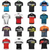 Wholesale bicycle riding shorts men - scott Men Summer Cycling Jerseys Short Sleeve Bike Jersey Cycling Clothing Road Bicycle Shirts Mountain Riding tops Mtb T shirt Male C3102