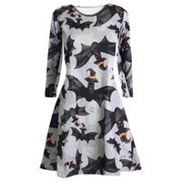 Wholesale bat women costume online - Fast Sending Hot Girl Women Long Sleeve Skull Bat Halloween Evening Party Prom Costume Swing Dress Party Prop Drop Shipping c816