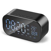 bluetooth radyo alarmı toptan satış-S2 V9 Taşınabilir Bluetooth Hoparlör Desteği Sıcaklık LCD Ekran FM Radyo Çalar Saat Kablosuz Stereo Subwoofer Müzik Çalar