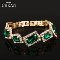 Wholesale luxury bridal crystal bracelet - Chran Designer New Luxury Crystal Wedding Bracelets for Women Gold Bridal Bracelet Green Bridesmaid Bracelet Bijoux