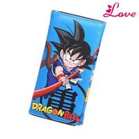 çanta japonya anime toptan satış-Lucia_shop Yeni Japonya Karikatür Popüler Dragon Ball Gokou Anime Cüzdan Uzun Erkekler Cüzdan Kadınlar Çanta Gençler Bifold Para Çantaları