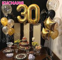 ballons numéros d'or achat en gros de-21pcs / lot 40 pouces numéro d'or 30 ballons d'aluminium + ballons en latex + ferraille 30e anniversaire fête décoration fournitures