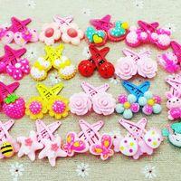 Wholesale cartoon hair - 50pcs lot baby jewelry infant cartoon pattern butterfly girls hairpins flower shaped kids hair clip girls lovely hairpins