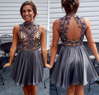 Wholesale open back beaded cocktail dresses resale online - 2019 New Short Mini A Line Cocktail Dresses High Neck Illusion Crystal Beads Gray Chiffon Hollow Open Back Party Dress Prom Homecoming Gowns