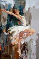 art danseurs de toile de peinture à l'huile achat en gros de-ZYXIAO Grande Taille Peinture À L'huile Art personnes sexy fille danseuse Décor À La Maison sur Toile Moderne Mur Art No Frame Imprimer Affiche photo ys0040