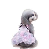 Wholesale wedding dresses mardi gras colors online - New Summer Pet Dress Princess Style Dress Three Colors Rose Skirt Bow Tie Rose Dog Clothing