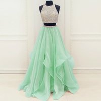 Wholesale Mint Green Organza - Mint Organza Ruffles Crystals Beading Sequins Two Piece Prom Dress A-line Cutout Back Long Evening Gowns