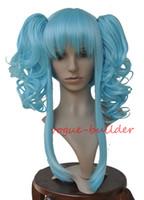 ingrosso parrucche blu cielo-Dettagli a proposito di resistente al calore 2 PONYTAILS BLU CIELO RICCI PAROLA CORTA COSPLAY VOCALOID CODA ANYA
