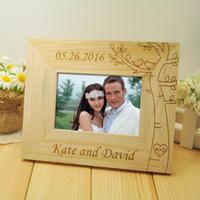 рамки для картин оптовых-Персонализированная свадебная фоторамка, деревянные свадебные фоторамки, деревенская рамка, домашний декор, подарок, 5-дюймовое фото