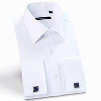 camisas de sarga al por mayor-Hombre de lujo francés cuff camisas de vestir sólido cuello extendido manga larga Regular-Fit camisa de negocios formal sarga (gemelos incluidos)