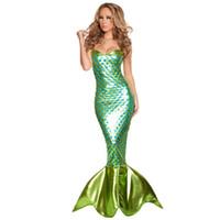 fisch halloween kostüme großhandel-Neue Design Halloween Frauen Meerjungfrau Kostüm Sexy Tube Top Kleid Fisch Cosplay Tragen Meerjungfrau Schwanz Kostüme