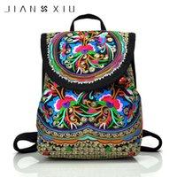 eşsiz kız sırt çantaları toptan satış-JIANXIU Çin Tarzı Çiçek Nakış Sırt Çantası Vintage Etnik Çanta Kız Lady Benzersiz Okul Çantaları Kadınlar Seyahat Sırt Çantası Çanta Y18110201