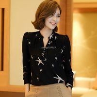 Wholesale Black Linen Blouse - 2018 New Women Chiffon Blouses Shirts Ladies White Black Elegant V-neck Blouse Long Sleeve Tops Female Office Shirt Plus Size
