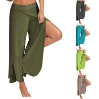 Wholesale wide leg dance pants - Yoga Wide Leg Pants Gym Sport Fitness Pants Side Slit Casual Trousers Summer Loose Bloomers High Waist Dance Pants 10 Colors OOA4042