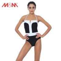 Wholesale Black Swimsuit One Piece Small - M&M Bikini Set Strappy One Piece Swimsuit Sexy Brazilian Beach Push Up High Waist Halter Small Ruched Swimwear Bathing Suit