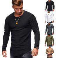camisas cubiertas hombres al por mayor-Camiseta casual para hombre modelo Sheeve drapeado cuello redondo Slim Fit negro manga larga Camiseta