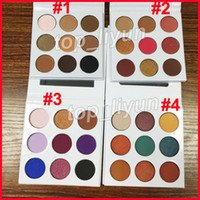 paleta azul al por mayor-¡En stock! 9 colores Eyeshadow Cosmetics 4 Estilos de sombra de ojos en polvo presionado Paleta Bronce + Borgoña + Púrpura + azul miel Maquillaje Cara Eyeshad