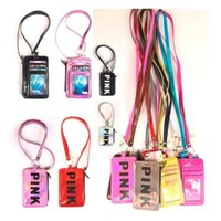 rosa brieftaschen großhandel-New Pink Lanyard Umhängeband Kartenhalter Keychain Kreditkarte Tasche Frauen VS Geldbörse ID Karte Geldhalter Geheime Brieftasche 10 Farben Freies DHL