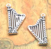 Wholesale harp instrument online - 5pcs Harp charm Antique Tibetan silver tone Musical instrument Charms Pendant x39x5mm