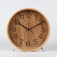 Wholesale circular desk for sale - Group buy Bell desk clock mute the sitting room is real wood desk clock European creative clock