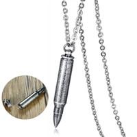 eski gümüş zincirler toptan satış-Erkekler için Bullet Kolye Açabilirsiniz Kolye 20