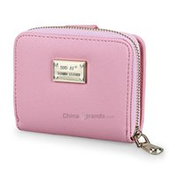 Wholesale acrylic embellishments - Guapabien Cross Pattern Letter Embellishment Two Fold Short Wallet for Lady Pink