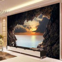 duvar kağıdı duvar kağıdı toptan satış-Özel Fotoğraf Kağıdı 3D Stereoskopik Mağara Deniz Manzarası Sunrise TV Arka Plan Modern Duvar Kağıdı Oturma Odası Yatak Odası Duvar Sanatı