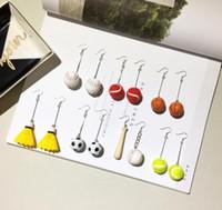 Wholesale balls for earrings online - Baseball Pendant Earrings Jewelry funny sports asymmetrical earrings For softball football Team Club Base Ball Lovers GGA636 Pairs