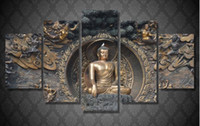 Wholesale abstract art buddha - HD Printed Buddha statue Painting wall art room decor print poster picture canvas Free shipping ny-1195