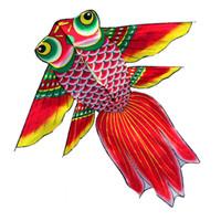 ingrosso divertenti aquiloni-Novità di alta qualità Outdoor Fun Sport 1.7 m Power Cartoon Aquilone / Goldfish Aquiloni con manico e linea Flying Big Kites più grandi