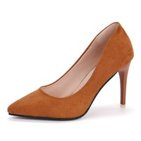 zapatos anaranjados al por mayor-Nuevas mujeres Bombas atractivas Tacones altos Zapatos de oficina concisos Mujer Primavera Señoras Vestido formal Calzado Negro Naranja Gris