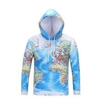 3d haritalar toptan satış-Marka Dünya Haritası Tişörtü Toprak Ter gömlek Komik 3d hoodies Erkek Giyim Erkekler Serin Anime Hoody Adam