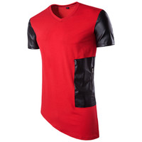 Wholesale T Shirt Black Leather Men - New Trends Men Unregular T shirt Patchwork Leather Top Clothing Men Crew Neck T-shirt Summer Hip Hop Streetwear Shirts