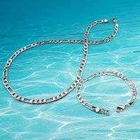 takı setleri toptan satış-Erkek takı setleri, 925 ayar gümüş kolye bilezik zinciri. Eşleşen kolye moda aksesuarları genişliği 6mm.