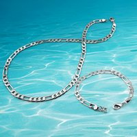 zubehör armbänder großhandel-Herrenschmuck Sets, 925 Sterling Silber Halskette Armband Kette.Men passende Halskette Mode-Accessoires Breite 6mm.