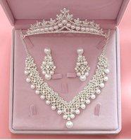 halsketten für hochzeits party großhandel-Luxus Kristall Perle Hochzeit Schmuck Sets für Bräute Halskette + Tiara Crown + Ohrring Schmuck Sets für Braut Haarschmuck