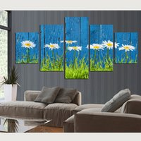 Wholesale sun painting modern art - Wall Art Pictures Modular 5 Panel White Sun Flower Blue Railing Canvas Paintings Modern HD Printed Posters Home Decor Tableau