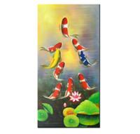 lienzo asiático arte de la pared al por mayor-Pintado a mano Lienzo Moderno Feng Shui Zen Arte de la Pared Abstracta Koi Peces Animal Pintura Al Óleo del viento de Asia Decoración Del Hogar Asiático. Múltiples tamaños AFS01