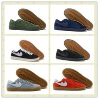 Wholesale Red Blazers Shoes - Men Women Blazer Low Prm VNTG Shoes Triple Black Trainers Sneakers With Boxes Size US5.5--11 Hot Sale