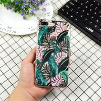 Wholesale iphone banana - Summer Palm Leaf Phone Case For iphone 6 6S 7 8 Plus X Case Clear Soft TPU Cover Cartoon Banana Leaves Cases For iphone 7 Case