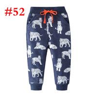 calça azul bebê menino venda por atacado-100% algodão Bebê azul profundo tigre meninos calça Terry Calças crianças crianças roupas tigres calças de impressão completa calças calças 2-7 T calças calções