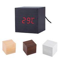 часы таймер календарь будильник оптовых-Modern Wooden Cube Digital LED  Timer Calendar Desk Alarm Clock