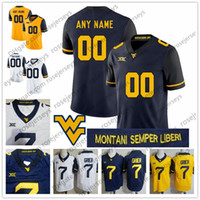 Custom West Virginia Mountaineers 2018 College Football White Navy Blue  Yellow Gold Any Name Number  12 Jennings 7 Grier Sills V NCAA Jersey b5b8003d5