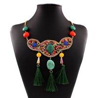 colar borla de imitação venda por atacado-Imitação de pedras preciosas Bead Tassel colares para as mulheres - África Estilo Boho Declaração Colar Womens Party Jóias