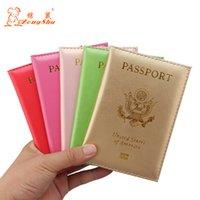 cartes de crédit personnalisées achat en gros de-USA couleur souple voyage pu cuir conception femmes couverture passeport carte de crédit titulaire de passeport de l'Amérique (impression personnalisée)