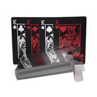 ingrosso carte di plastica di novità-1 Set di carte da gioco durevoli in plastica di plastica nera impermeabile Novità giochi da tavolo di carte da poker Giochi per feste in famiglia Puntelli
