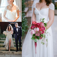 Wholesale rustic natural wedding dresses online - Rustic Style Long Chiffon Beach A Line Wedding Dresses With Pearl Beading Cap Sleeves Pleats Special Occasion Dresses Sexy Wedding Gowns