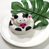 Wholesale cow cartoon toys online - Round Cow Cake Squishy Cartoon Cute PU Foam Squeeze Toys Safety Non Toxic Squishies High End qz BB